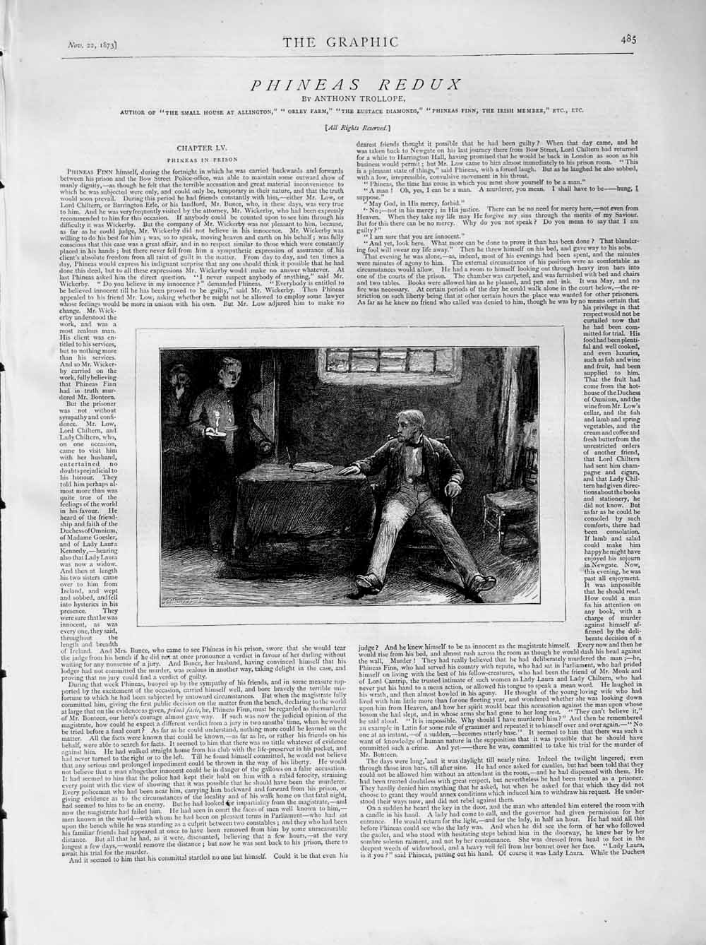 [Print 1873 Illustration Story Phineas Redux Men Table Candle 485M108 Old Original]