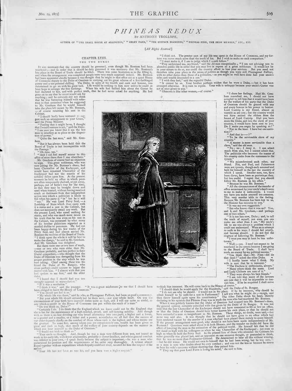 [Print 1873 Illustration Story Phineas Redux Lady Woman House 509M108 Old Original]