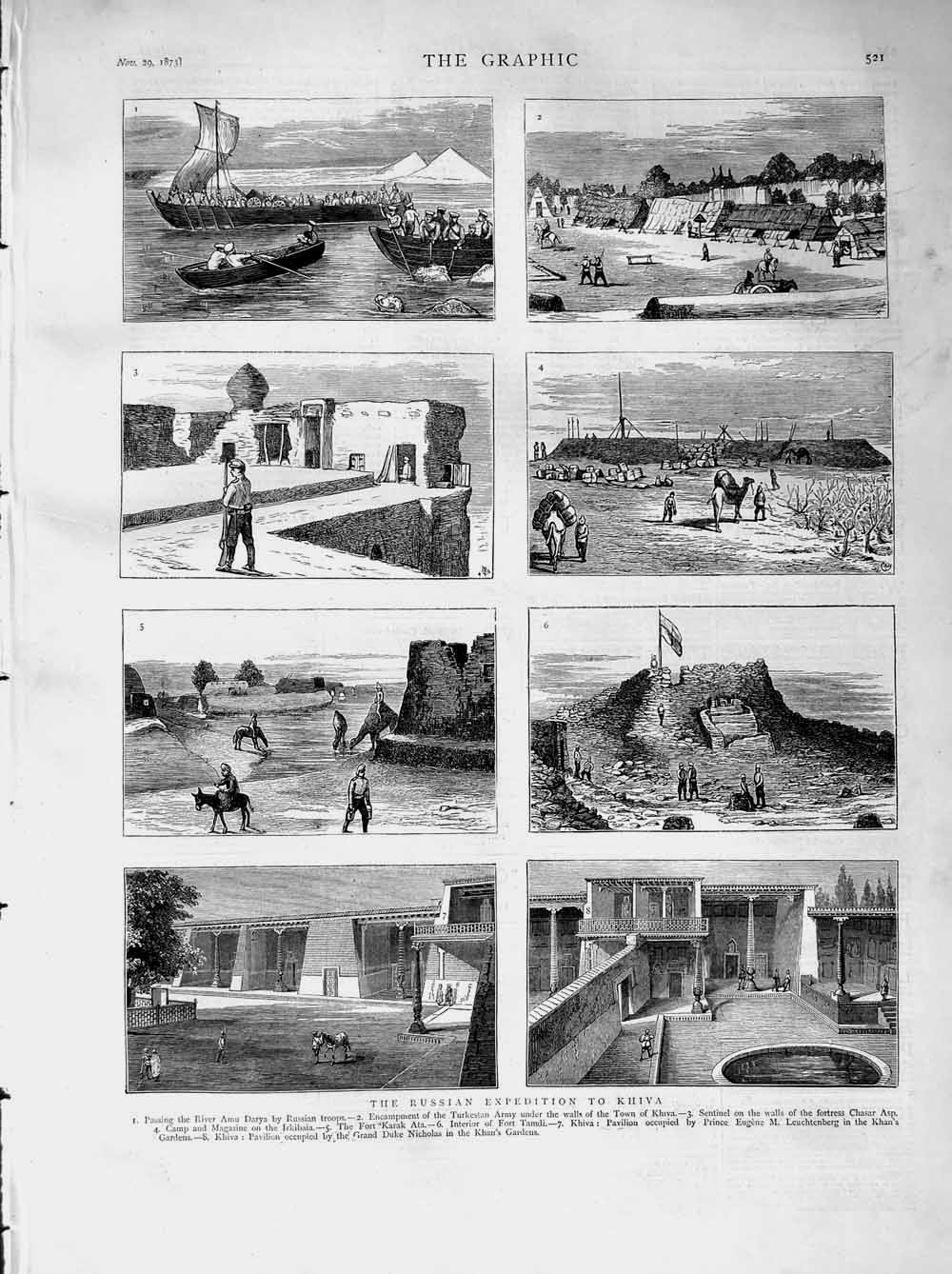 [Print 1873 Russian Expedition Khiva Fortress Chasar Fort 521M108 Old Original]