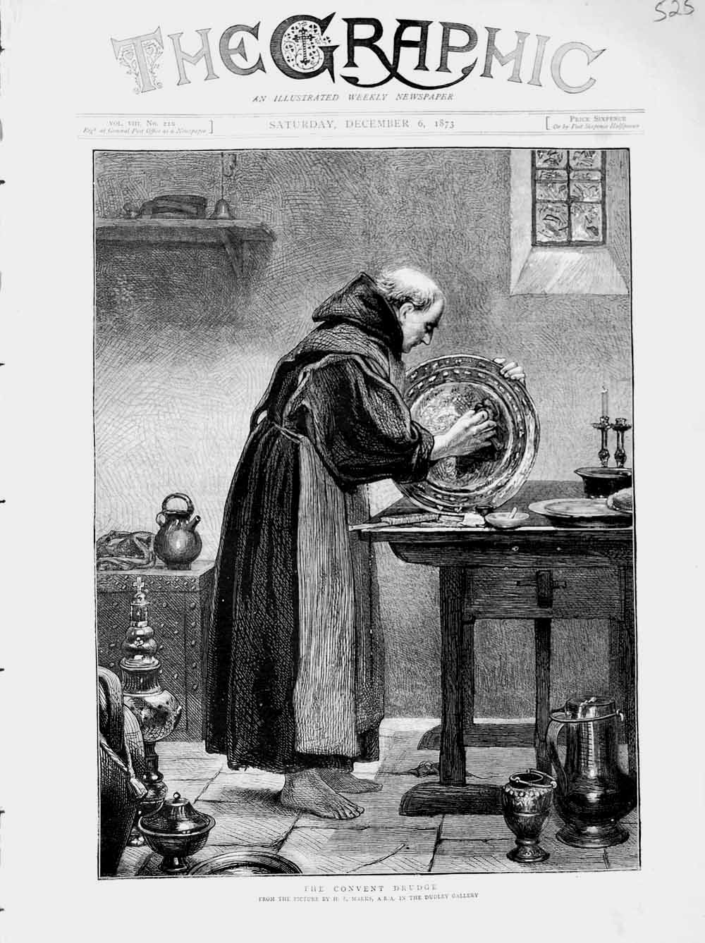 [Print 1873 Marks Dudley Gallery Monk Convent Working 525M108 Old Original]