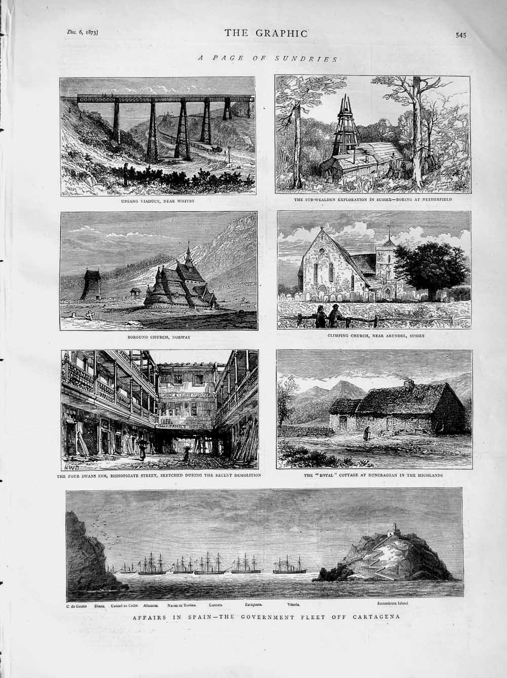 [Print 1873 Whitby Netherfield Norway Church Ships Duncraggan 545M108 Old Original]