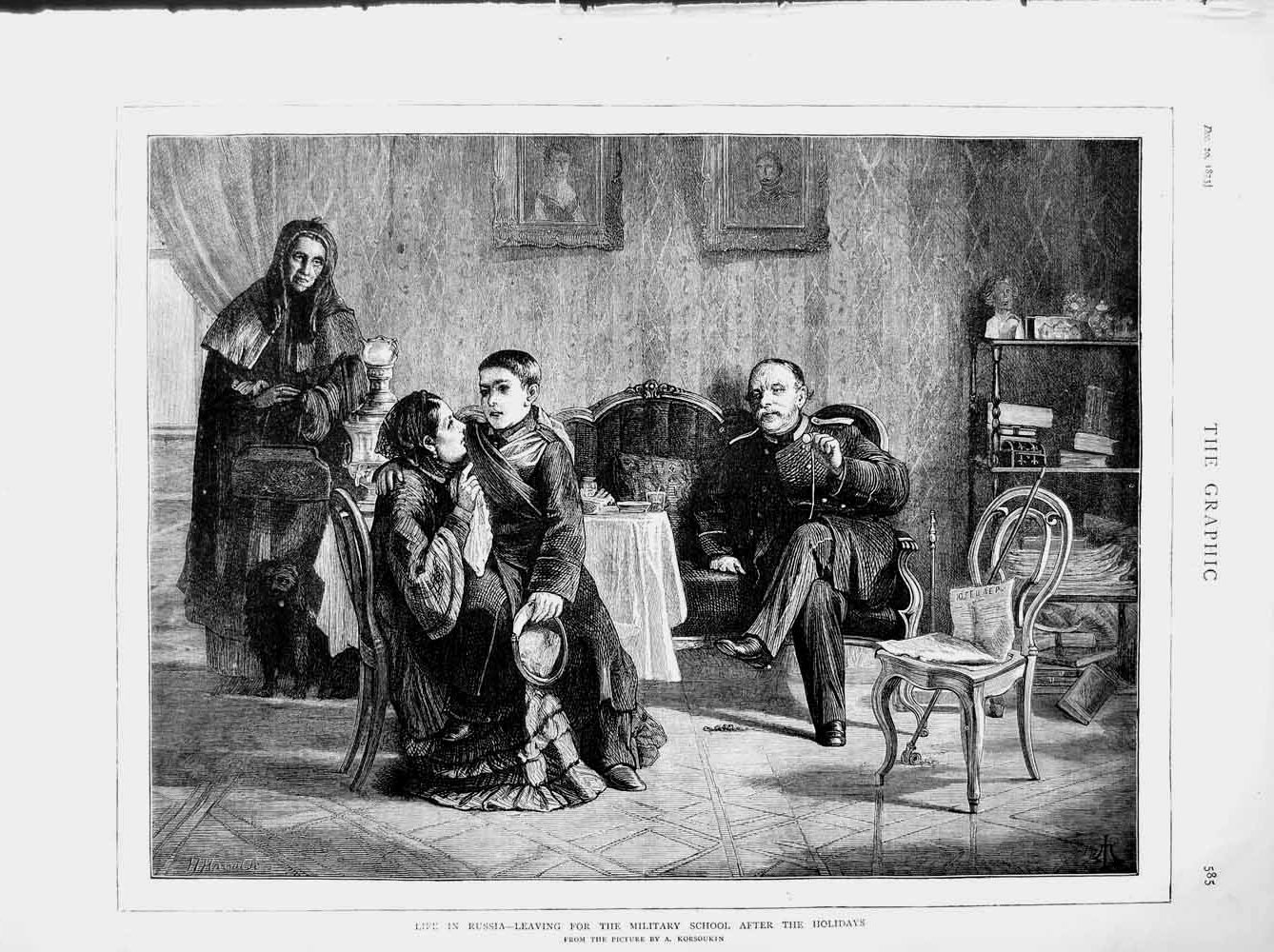 [Print 1873 Life Russia Military School Young Boy Family 585M108 Old Original]