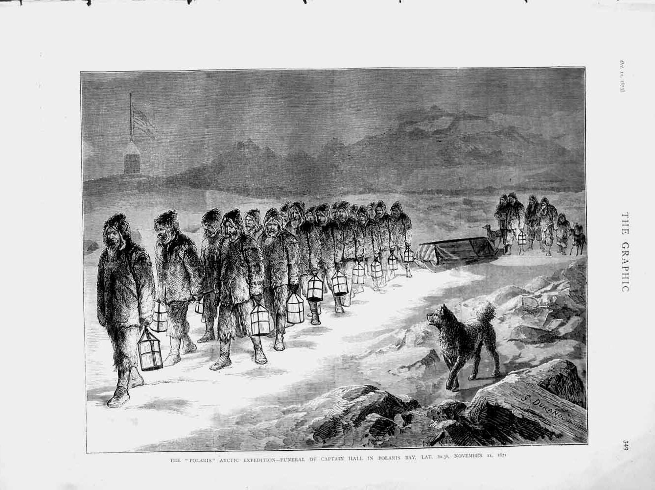 Print 1873 Polaris Arctic Expedition Funeral Captain Hall Bay Old Original