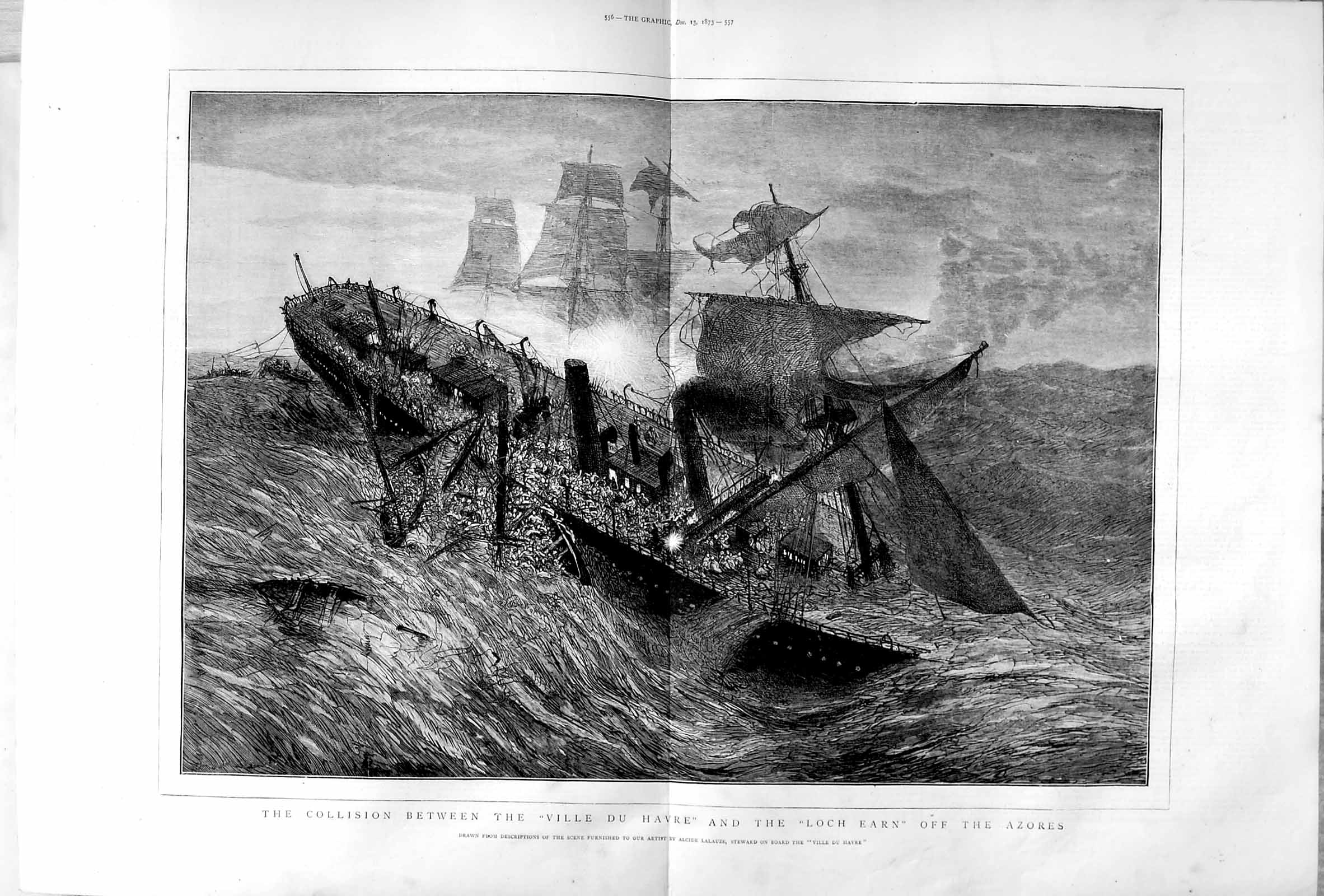 Print 1873 Collision Ville Du Havre Loch Earn Azores Ships  Old Original