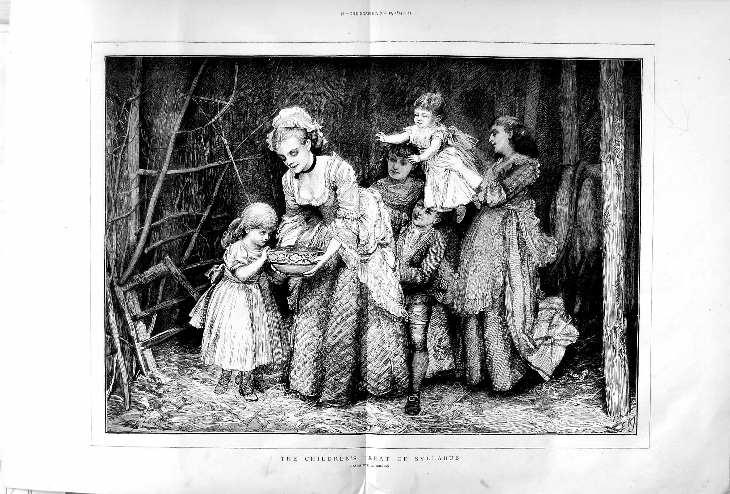[Print 1874 Children Treat Syllabub Family Johnson Fine Art 035Tm109 Old Original]