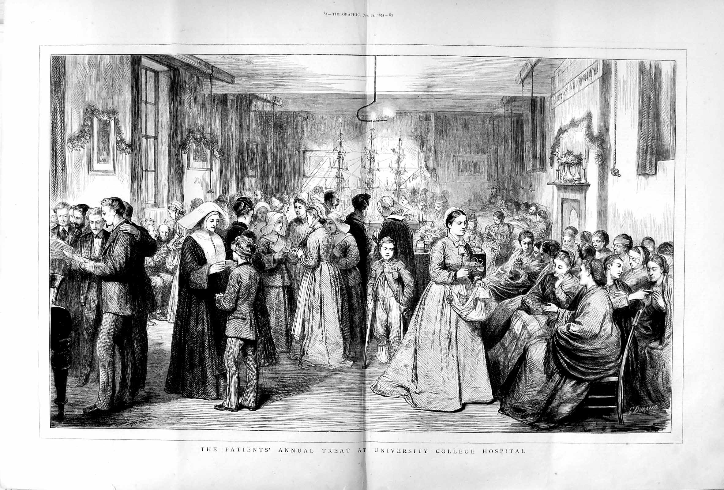 [Print 1874 University College Hospital Annual Treat Patients 081Tm109 Old Original]