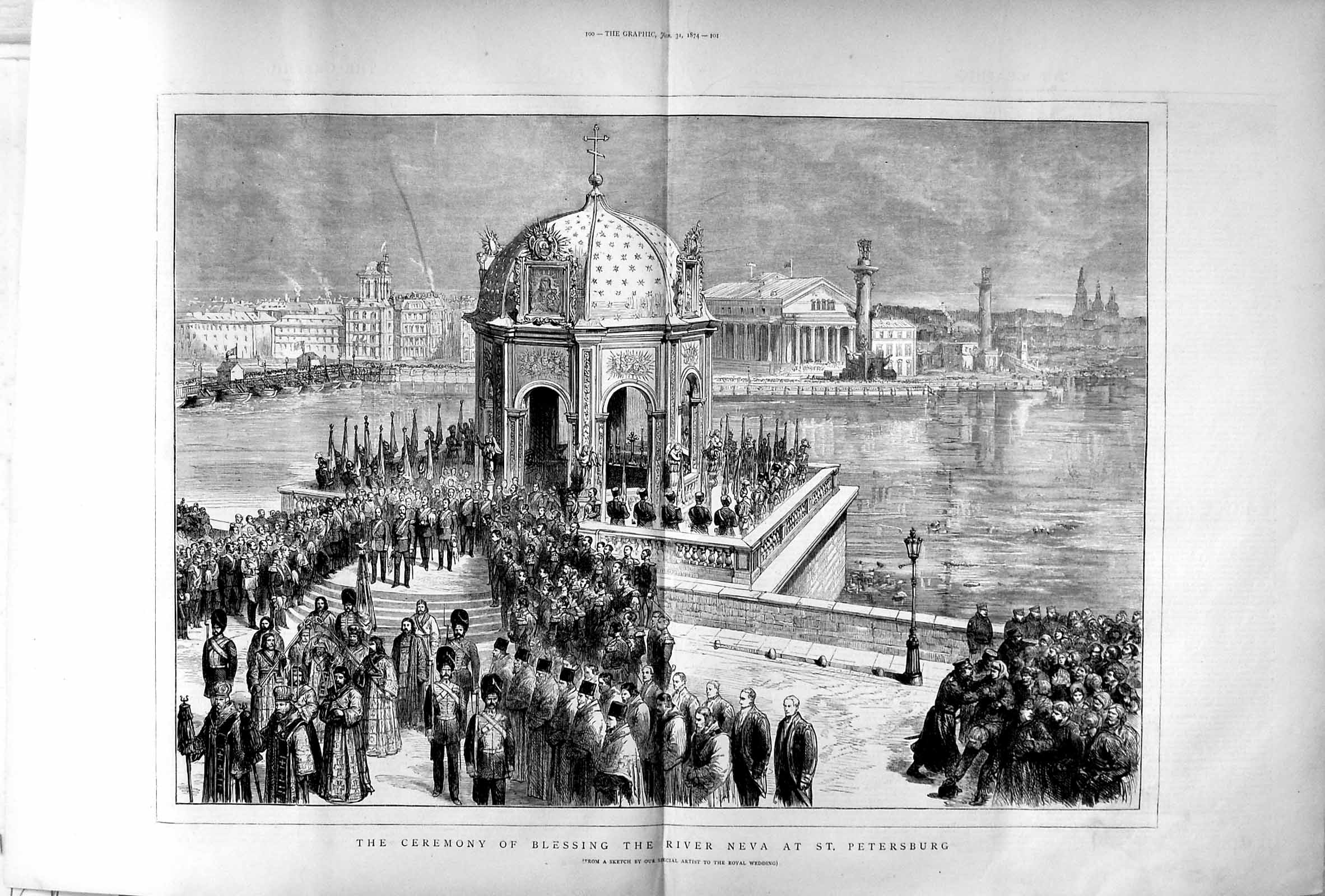 [Print 1874 Blessing River Neva St. Petersburg Royal Wedding 099Tm109 Old Original]