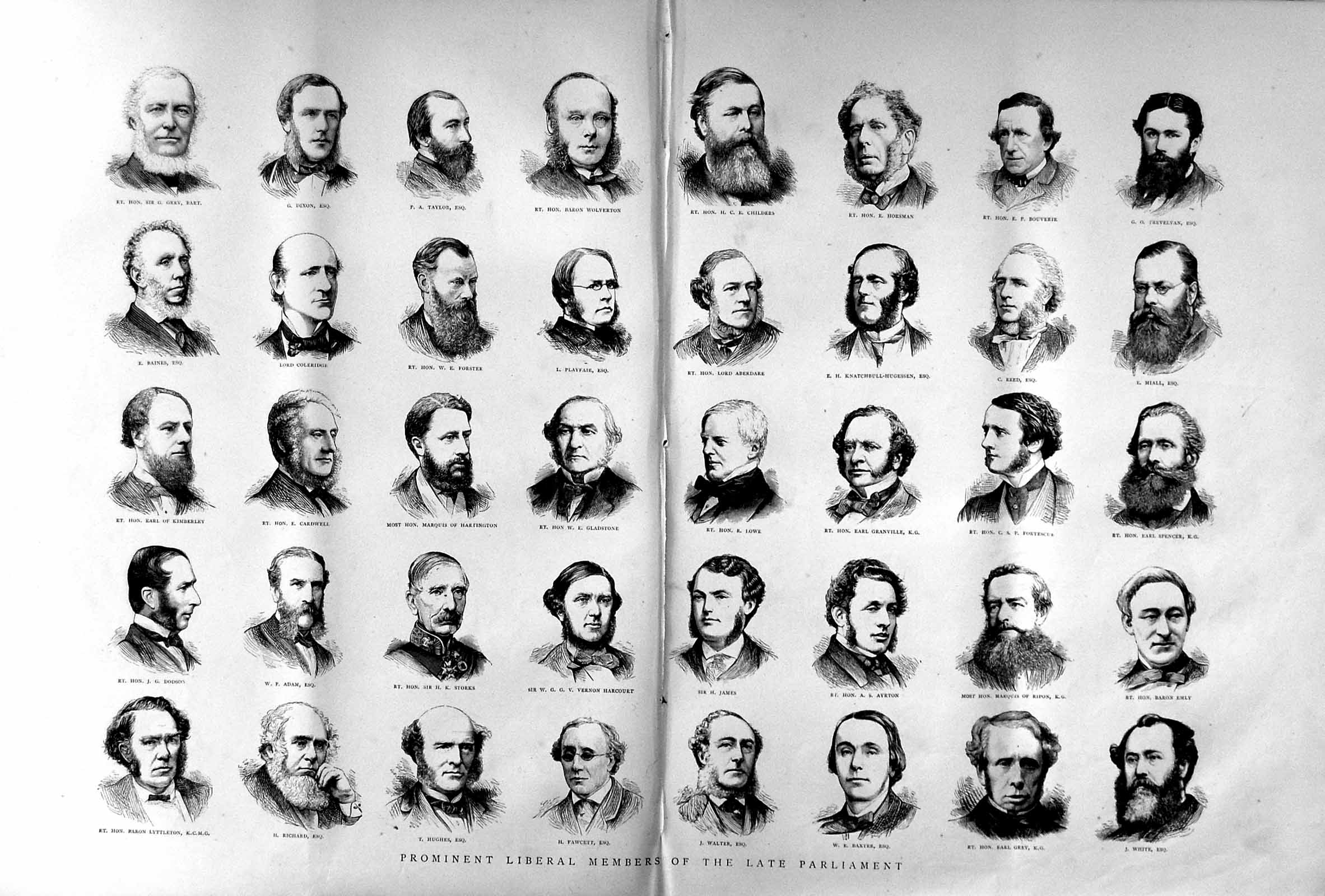 [Print 1874 Liberal Members Parliament Gladstone Playfair Men 128Tm109 Old Original]