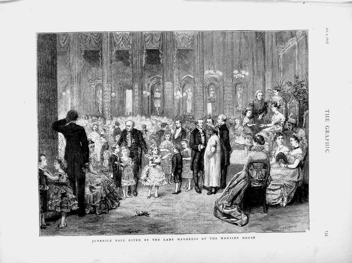 [Print 1874 Children'S Ball Lady Mayoress Mansion House Party 133M109 Old Original]