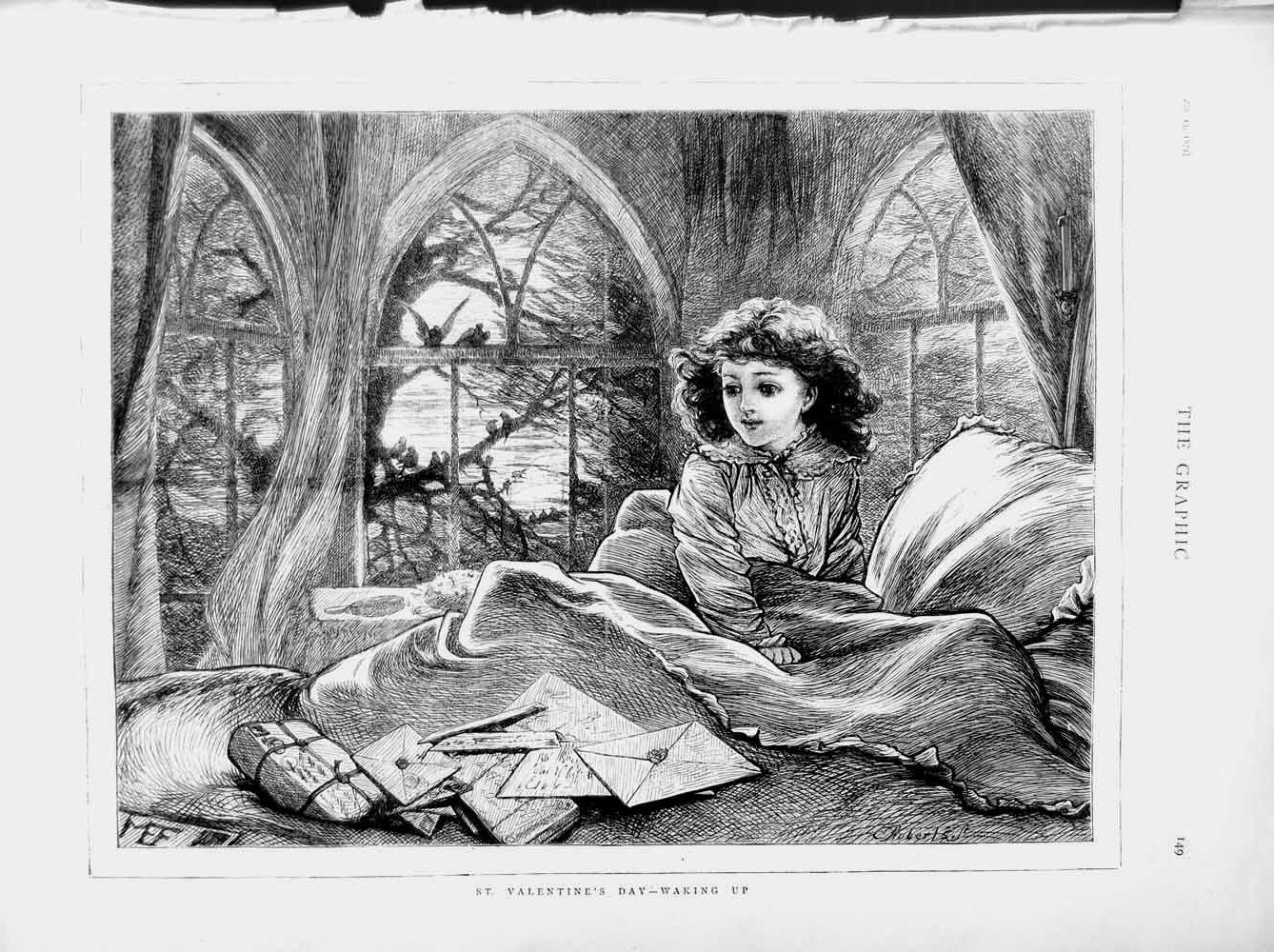 [Print 1874 Young Woman Waking Bed St. Valentines Day Letters 149M109 Old Original]