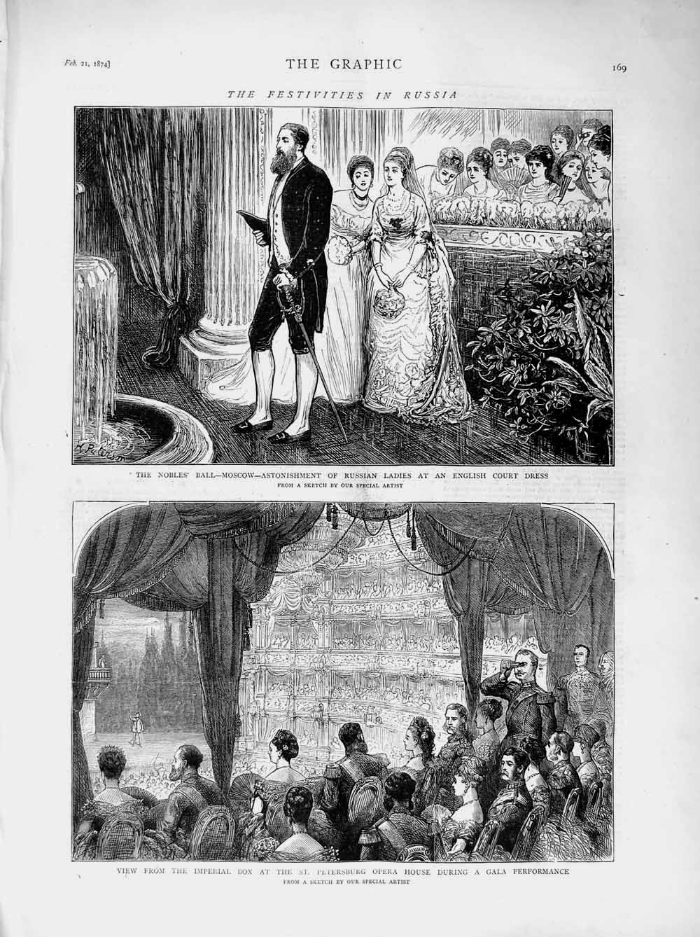 [Print 1874 Russia Petersburg Opera House Nobles Hall Moscow 169M109 Old Original]