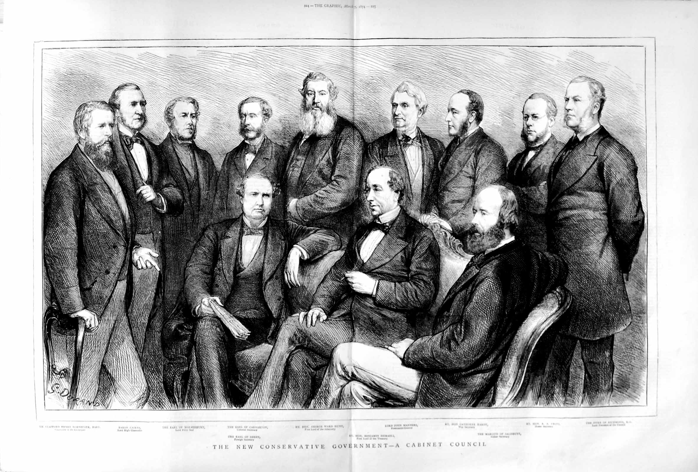 [Print 1874 Cabinet Council Conservative Hunt Manners Hardy 223Tm109 Old Original]
