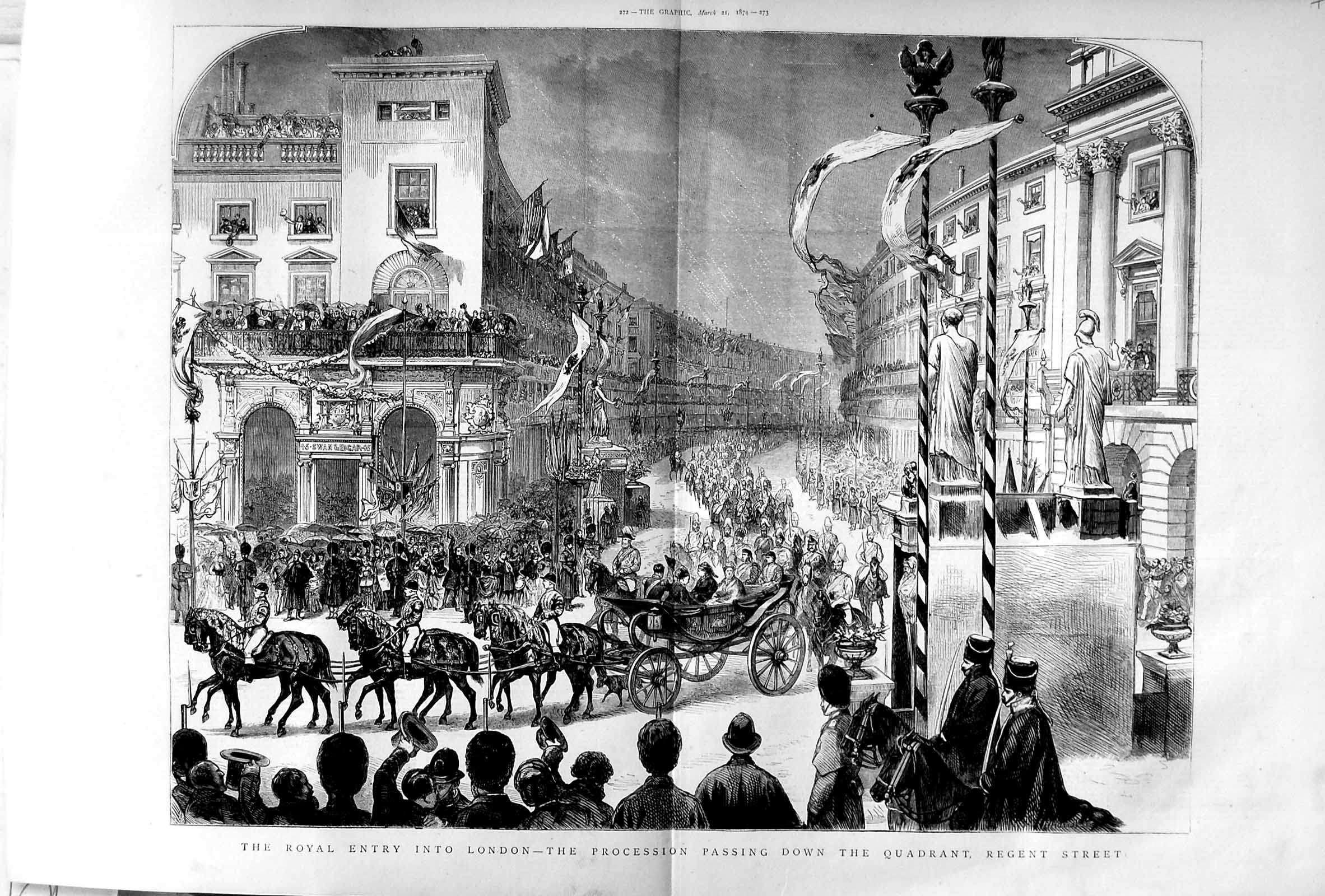 [Print 1874 Royal Family London Quadrant Regent Whitehall Art 271Tm109 Old Original]