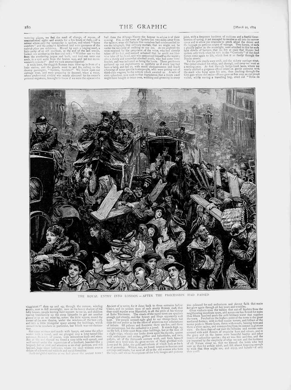 [Print 1874 Royal Entry London Procession Horses Carriage 280M109 Old Original]