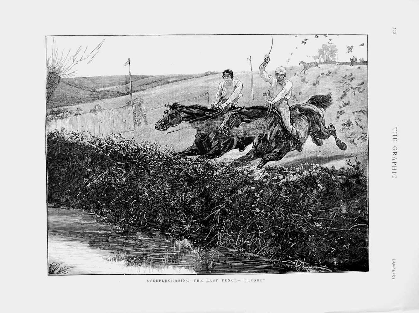 [Print 1874 Horse Racing Sport Steeplechasing Jumping Jockey 320M109 Old Original]