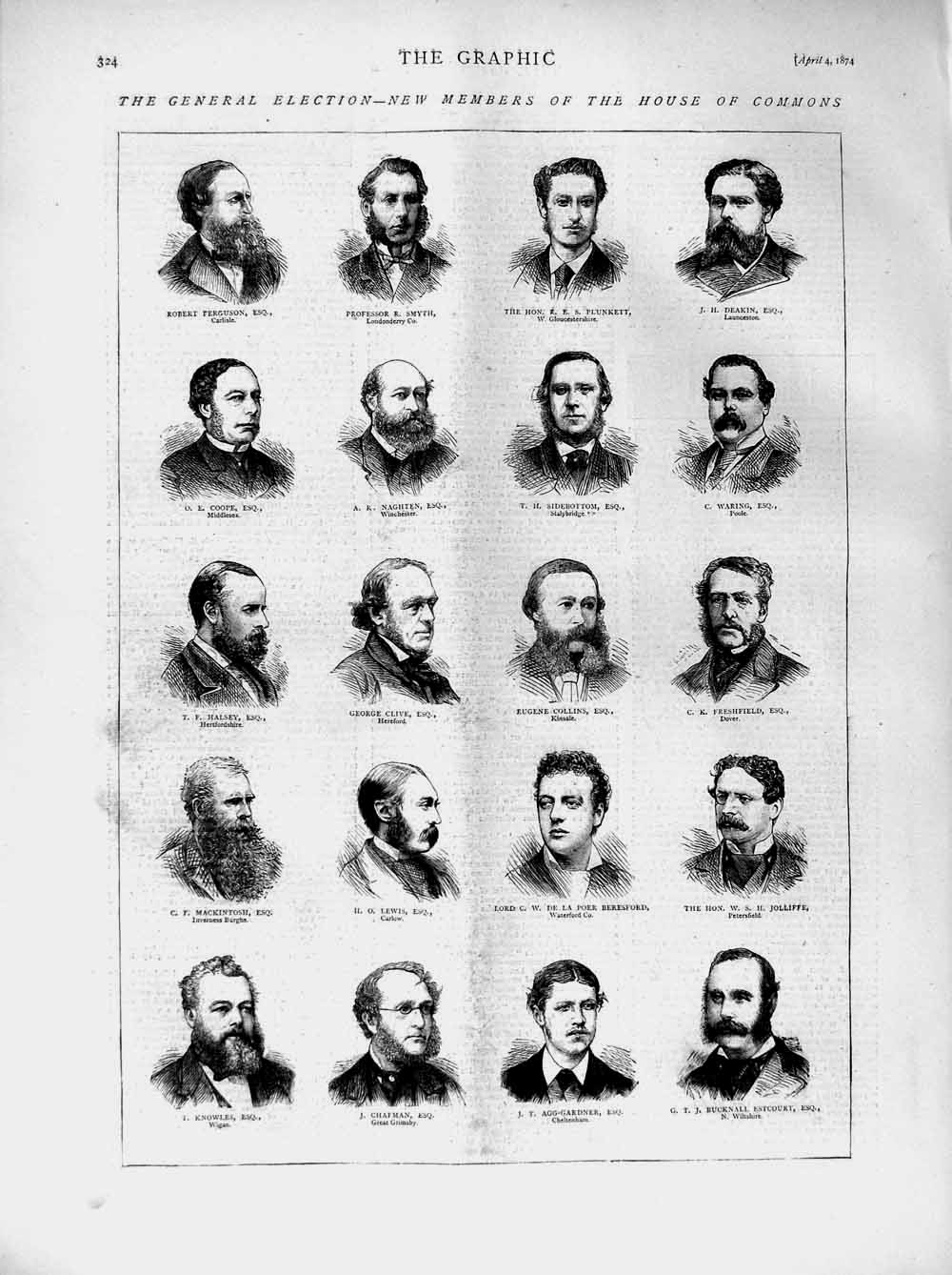 [Print 1874 House Commons Men Smyth Deakin Chafman Lewis Coope 324M109 Old Original]
