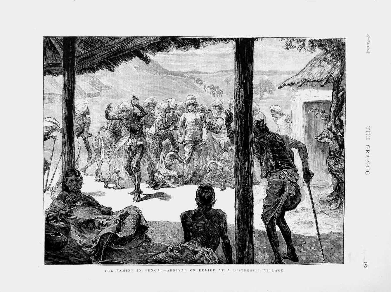 [Print 1874 Famine Bengal Food Distressed Village Starving 325M109 Old Original]