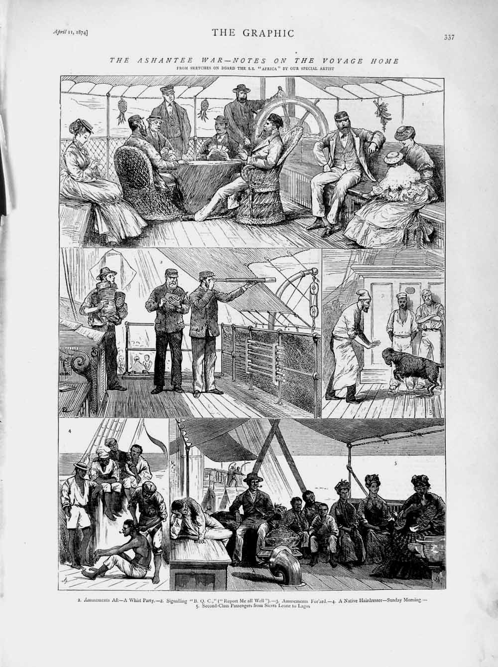 [Print 1874 Ashantee War Ship Africa Whist Party Passengers 337M109 Old Original]