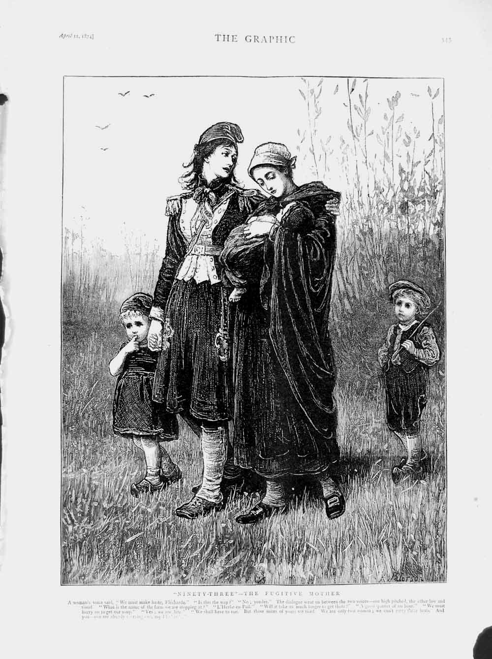 [Print 1874 Fugitive Mother Children Country 345M109 Old Original]