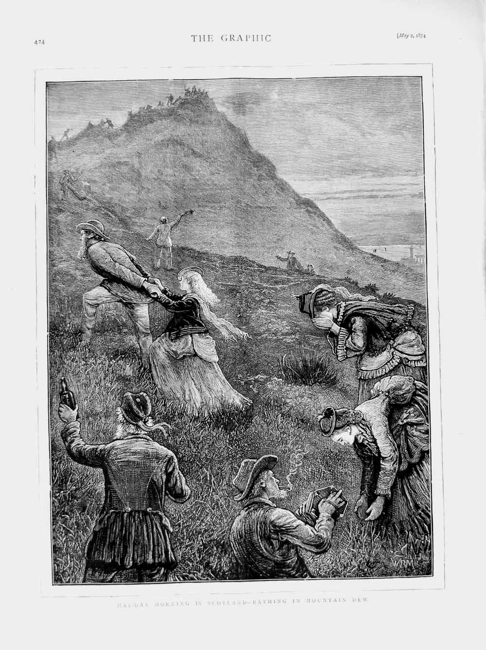 [Print 1874 May-Day Scotland Bathing Mountain Dew Countryside 424M109 Old Original]