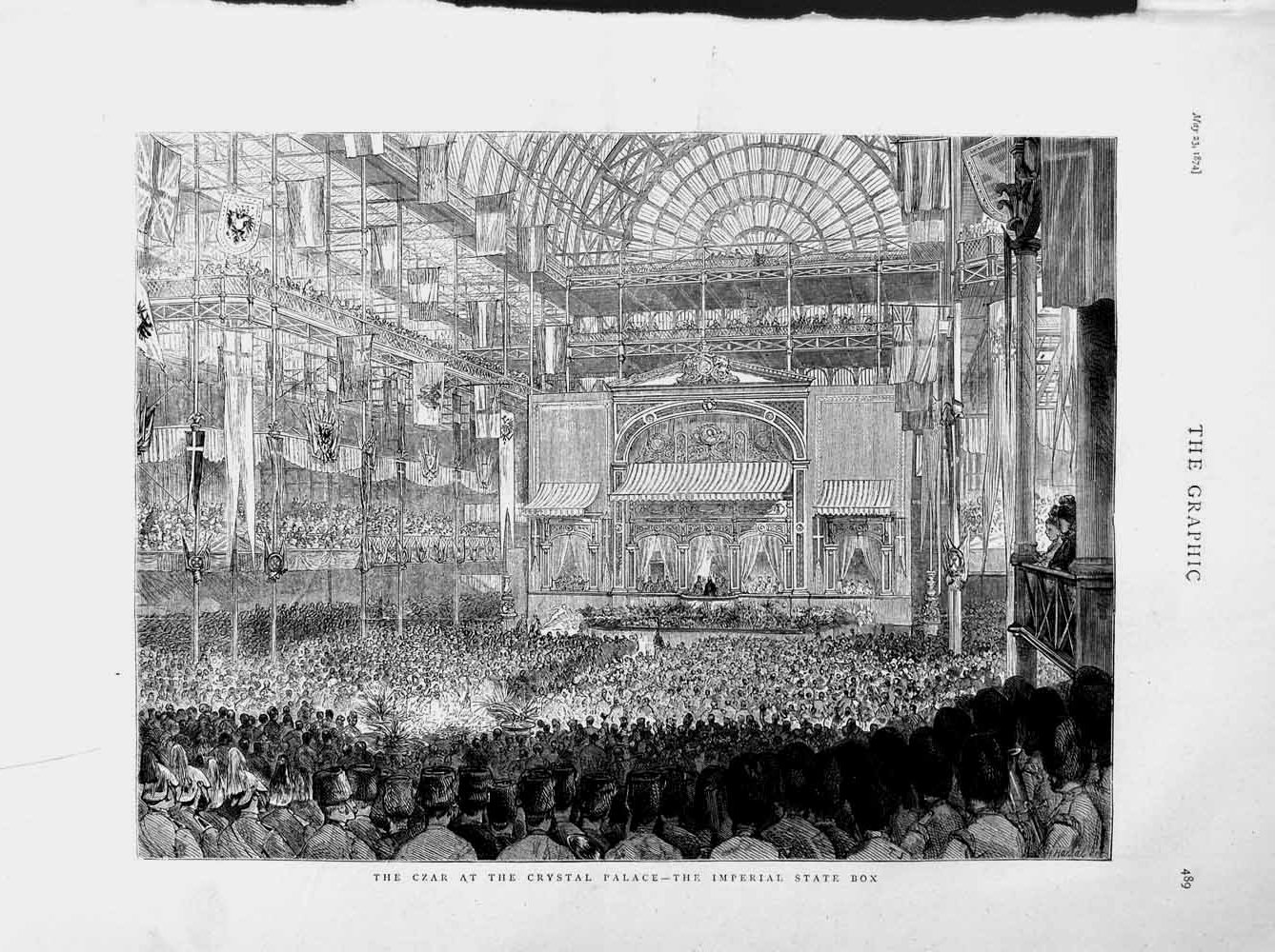 [Print 1874 Czar Crystal Palace Imperial State Box Theatre 489M109 Old Original]