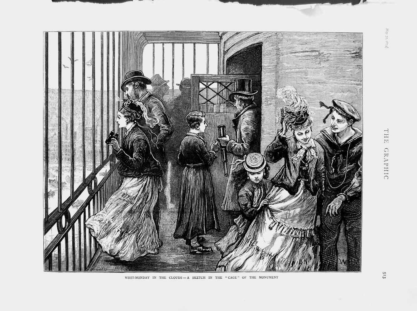 [Print 1874 Whit-Monday Cage Monument People Family Holiday 513M109 Old Original]