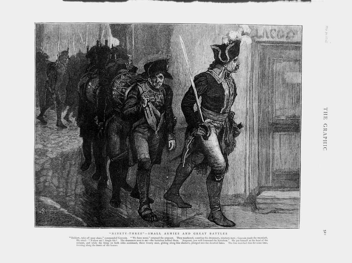 [Print 1874 Gauvain Army Soldiers Marching Drummers 521M109 Old Original]