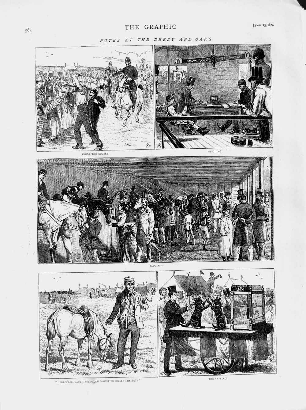 [Print 1874 Derby Oaks Horse Racing Sport Course Weighing 564M109 Old Original]