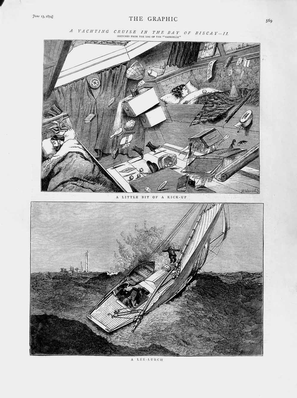 [Print 1874 Yachting Bay Biscay Boats Gabrielle Stormy Sea 569M109 Old Original]