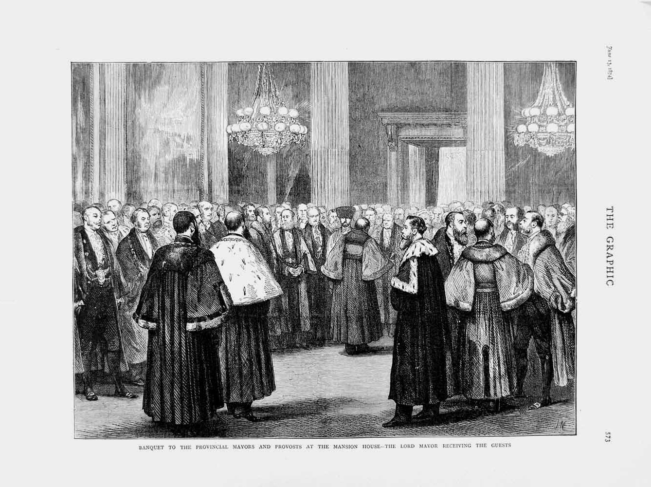 [Print 1874 Banquet Lord Mayors Provost Mansion House London 573M109 Old Original]