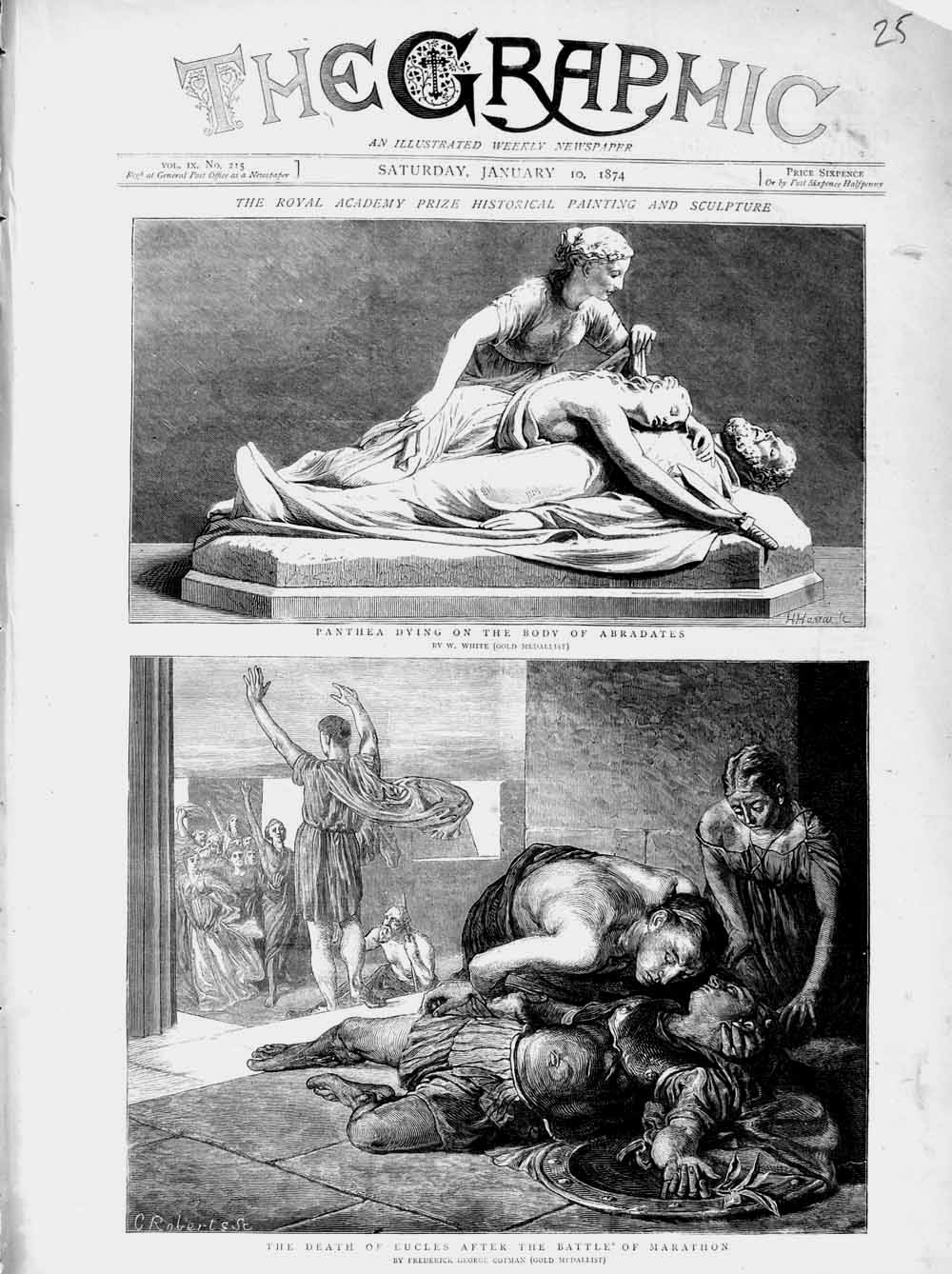 Print 1874 Panthea Body Abradates Statue Eucles Marathon Old Original