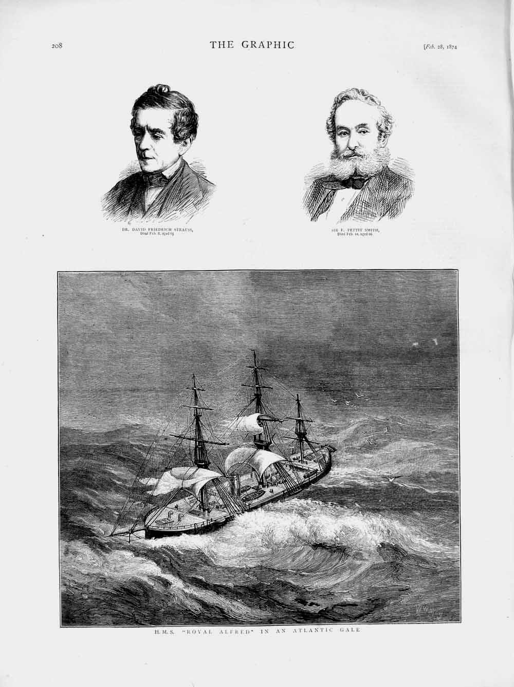 Print 1874 Royal Alfred Ship Atlantic Strauss Pettit Smith Old Original