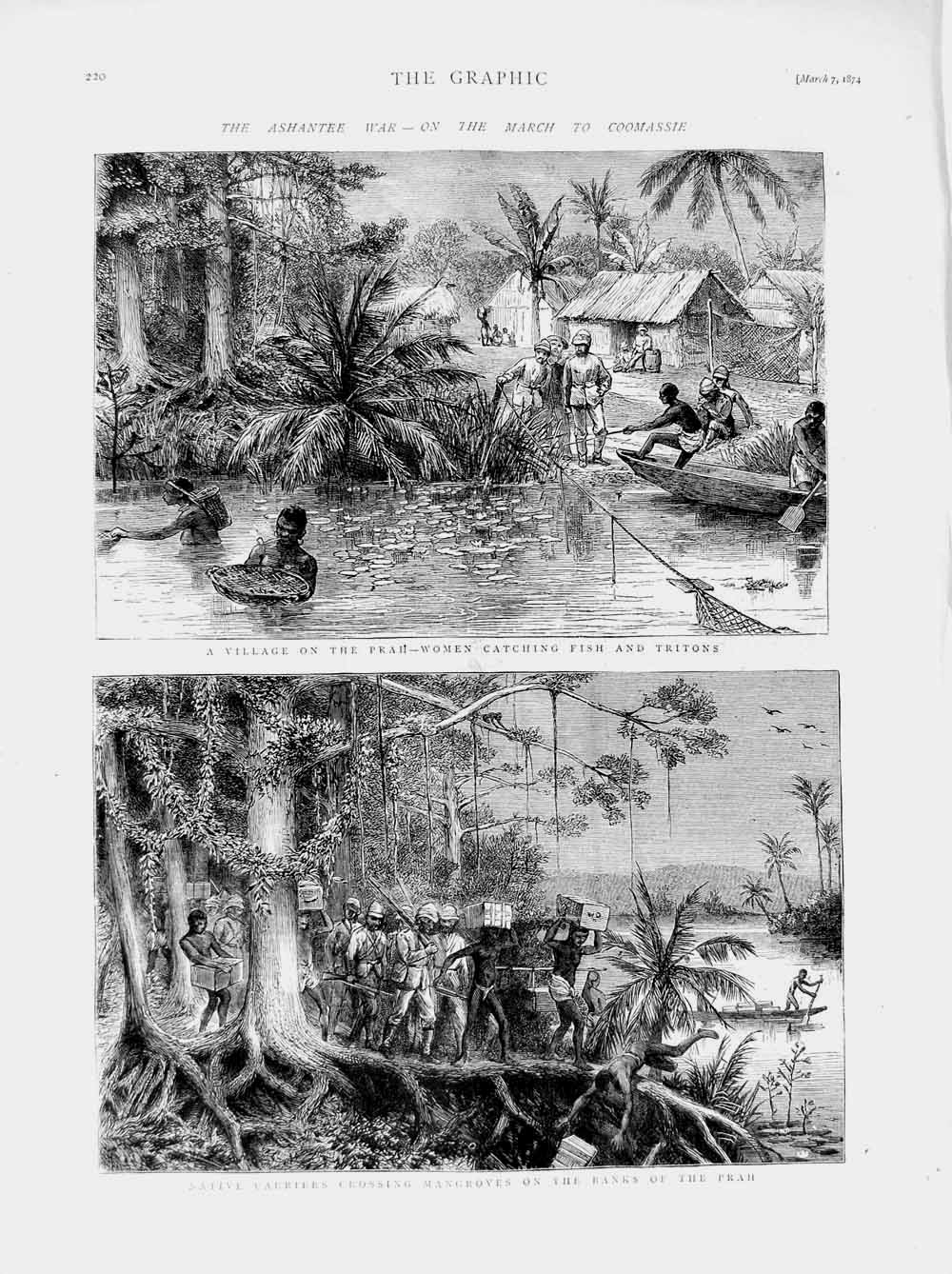 Print 1874 Ashantee War Coomassie Prah Fishing Natives Triton  Old Original