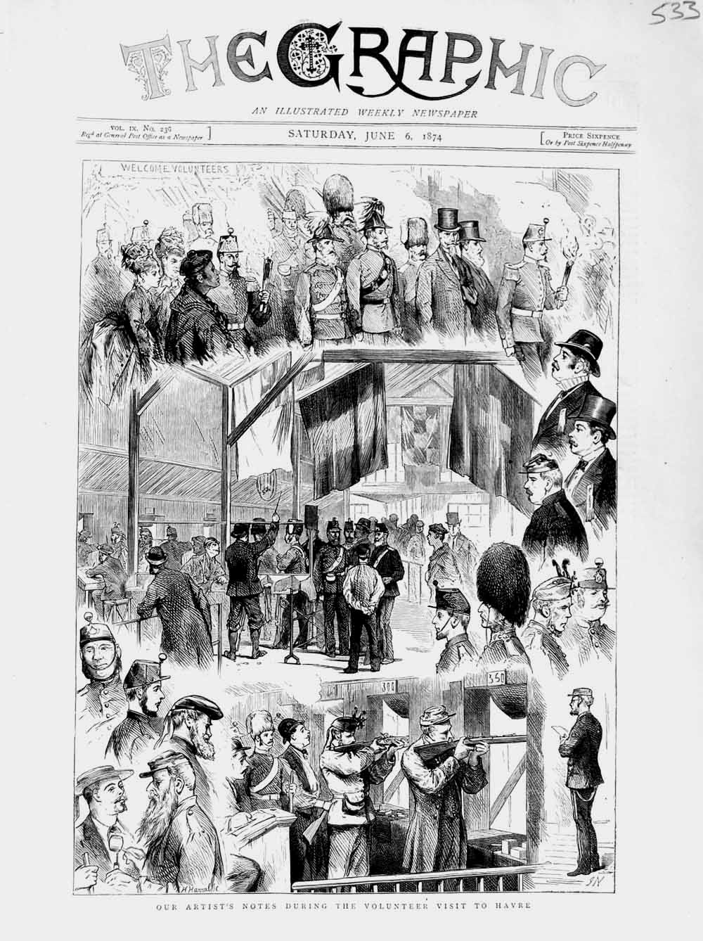 [Print 1874 Volunteer Soldiers Visit Havre War Shooting  Old Original]
