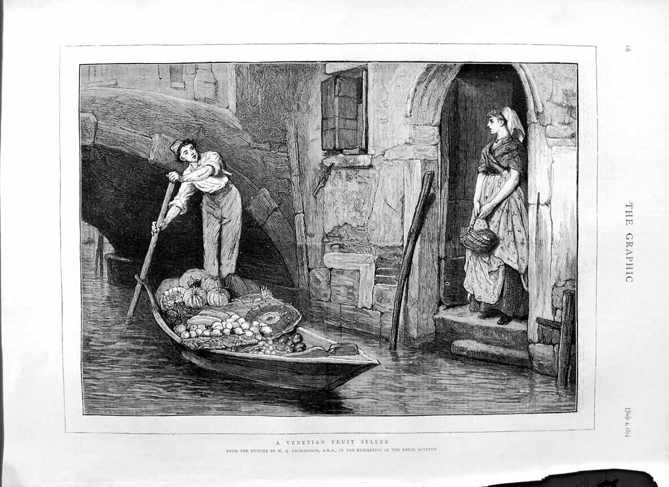 [Print 1874 Venetian Fruit Seller Canal Boat Italy Orchardson 016M110 Old Original]