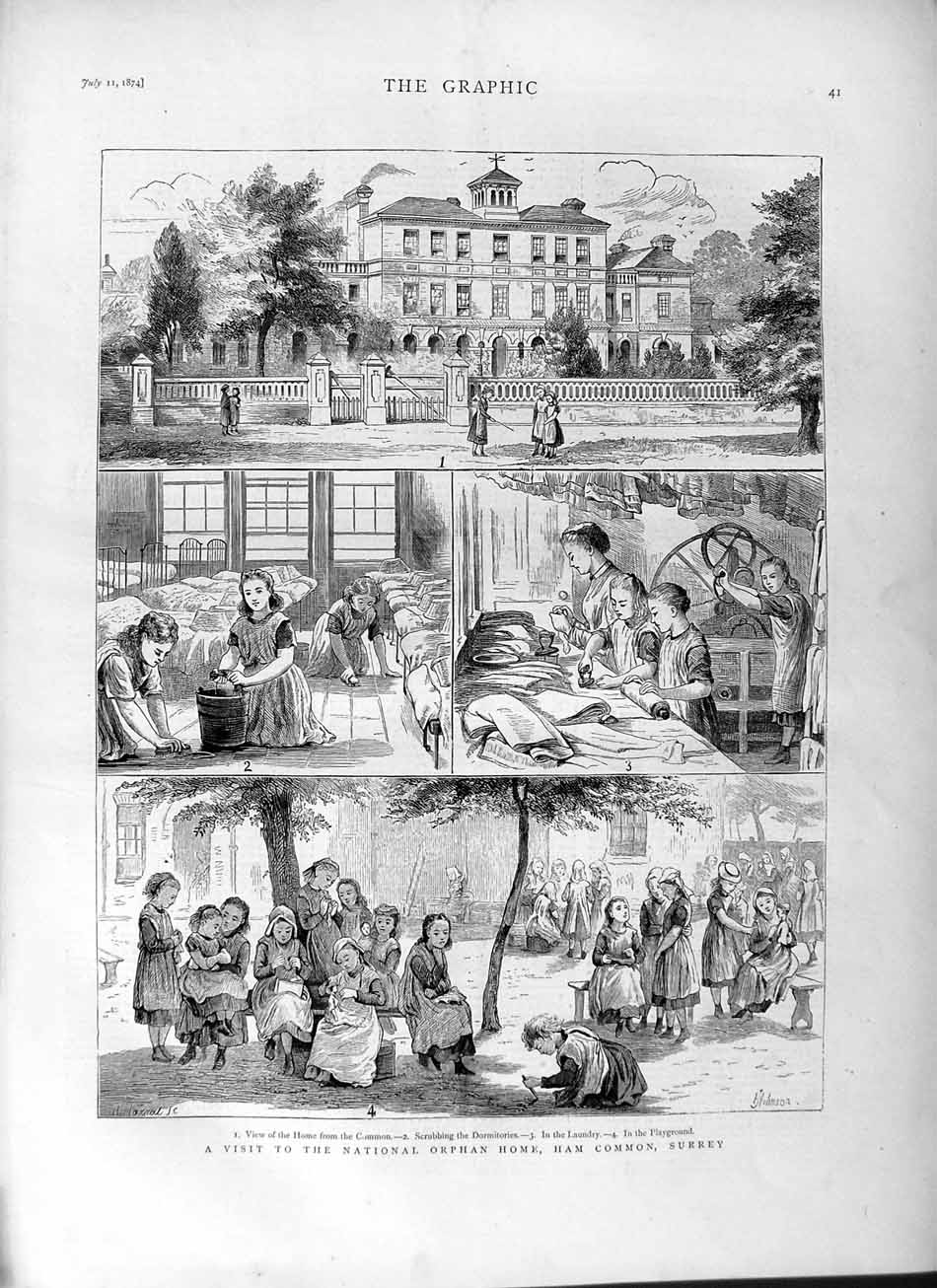 [Print 1874 National Orphan Home Ham Common Surrey Children  Old Original]
