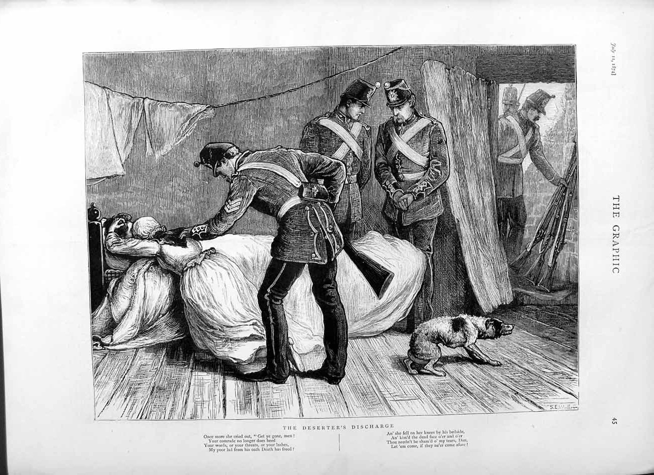 [Print 1874 War Deserter Soldiers Bed House Lady Dog 045M110 Old Original]