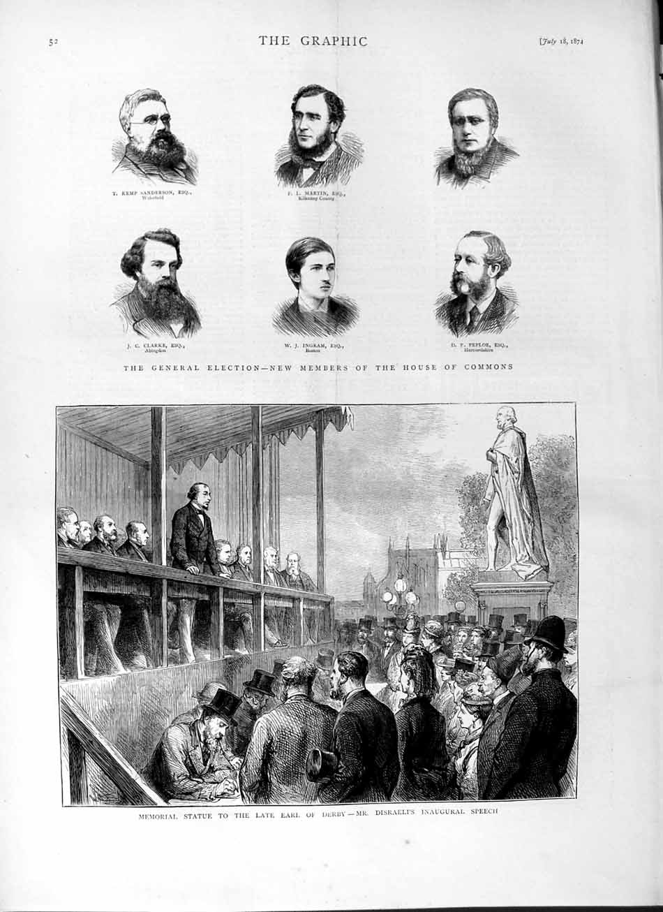 [Print 1874 Statue Earl Derby House Commons Sanderson Clarke 052M110 Old Original]