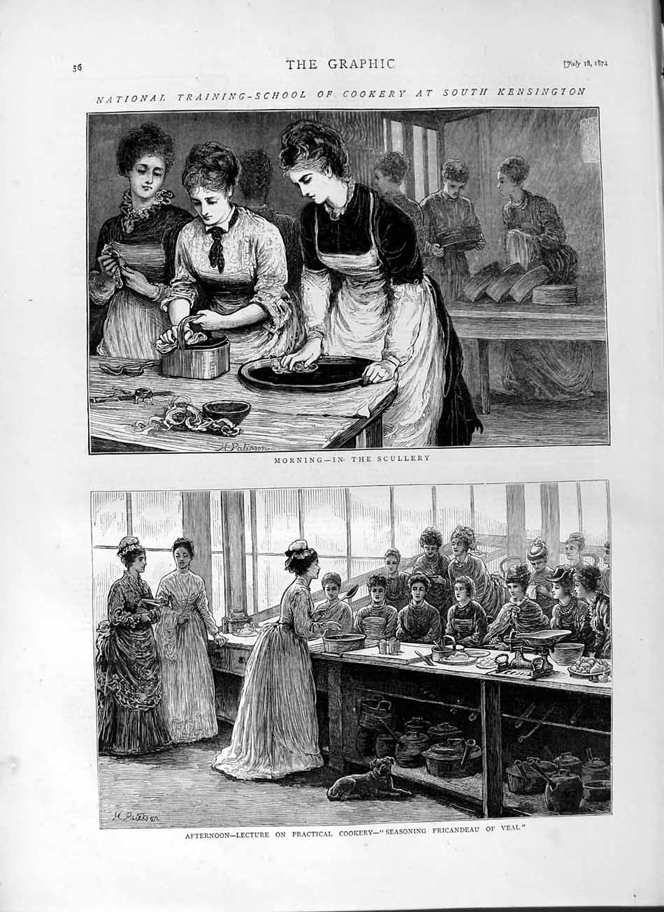 [Print 1874 School Cookery Kensington Scullery Veal London Old Original]