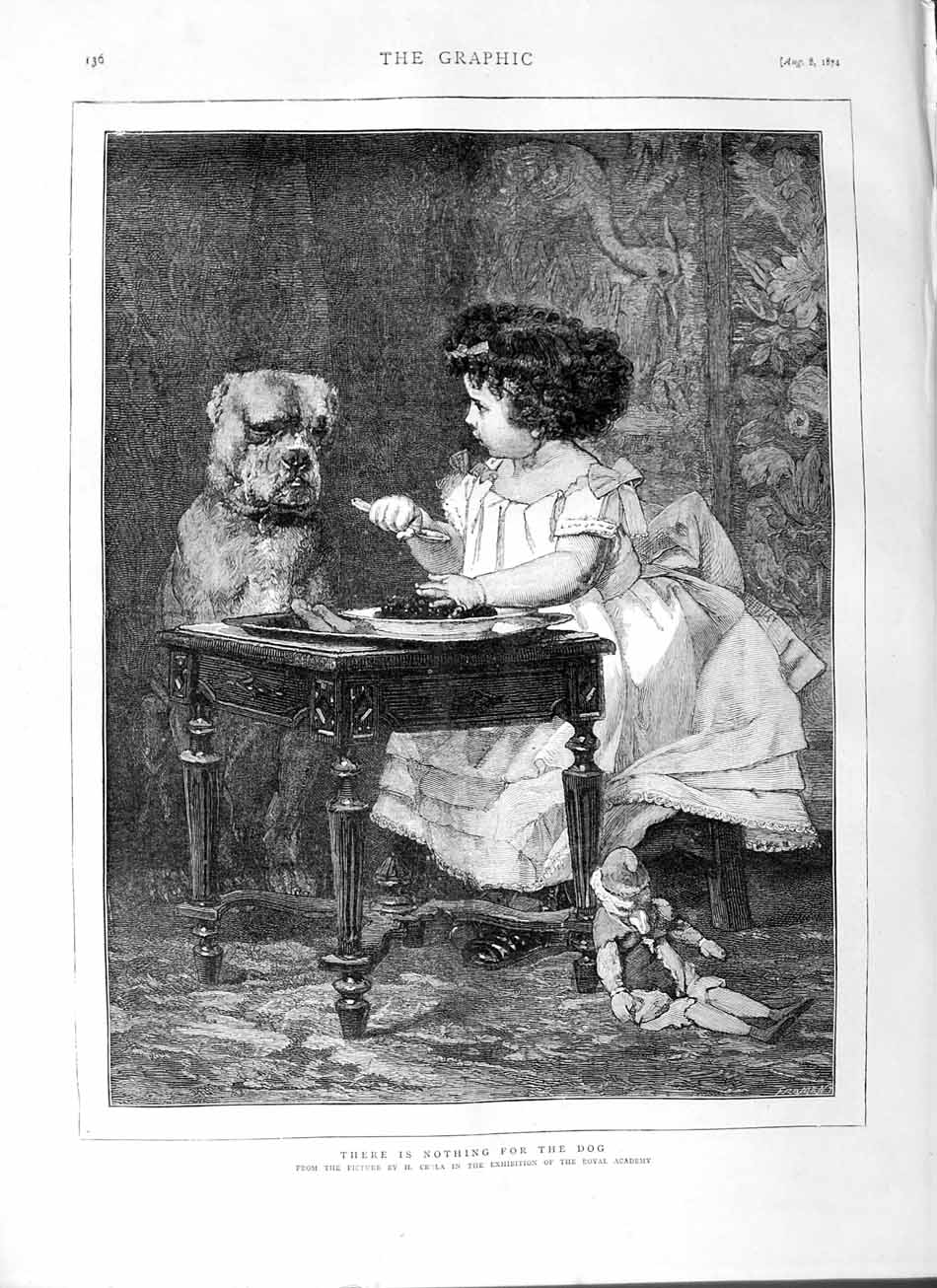 [Print 1874 Crola Royal Academy Little Girl Dog Table Food 136M110 Old Original]