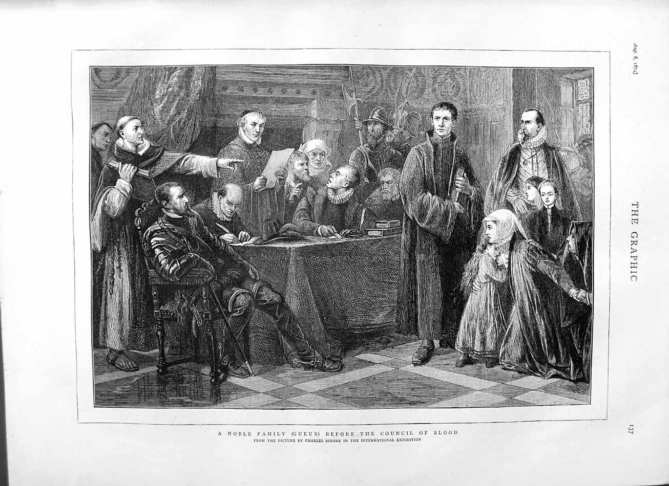 [Print 1874 Noble Family Council Blood Charles Soubre 137M110 Old Original]
