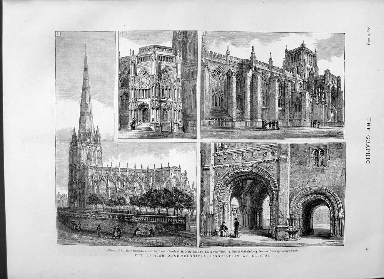 [Print 1874 Archaeology Bristol Church Redcliffe Cathedral 141M110 Old Original]