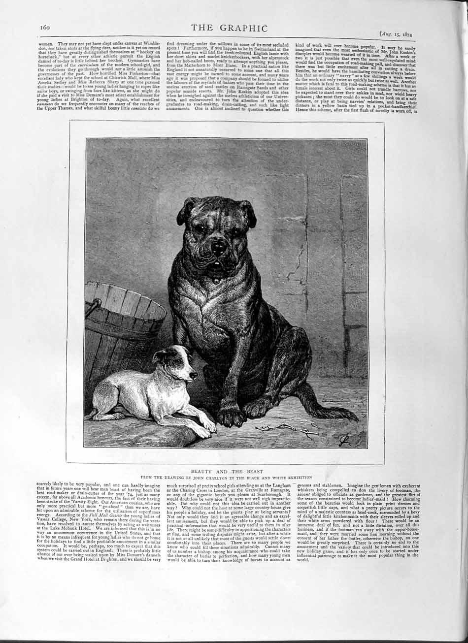 [Print 1874 Big Dog Puppy Animals John Charlton Fine Art  Old Original]