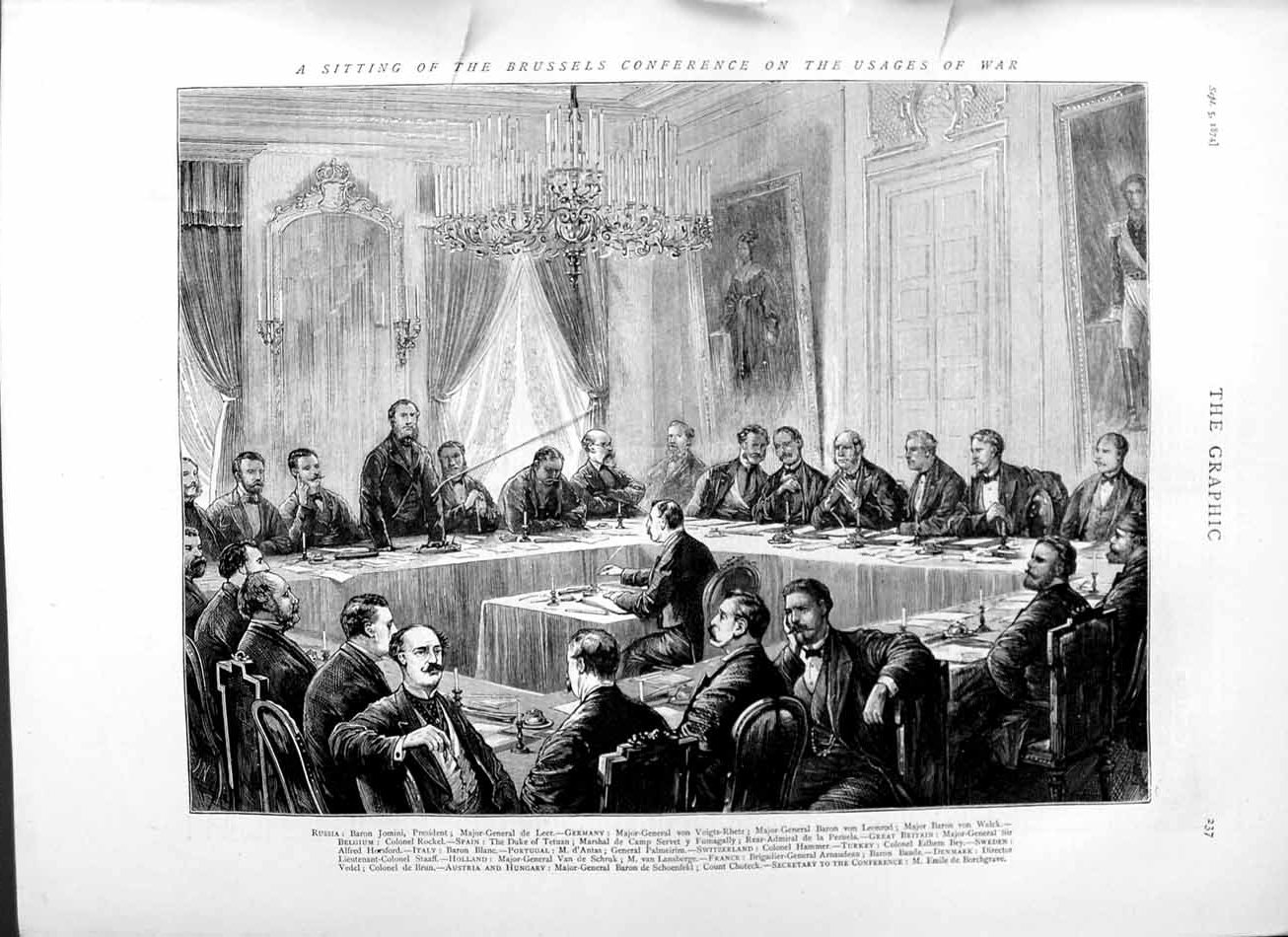 [Print 1874 Brussels Conference Men Russia Germany Holland Men 237M110 Old Original]