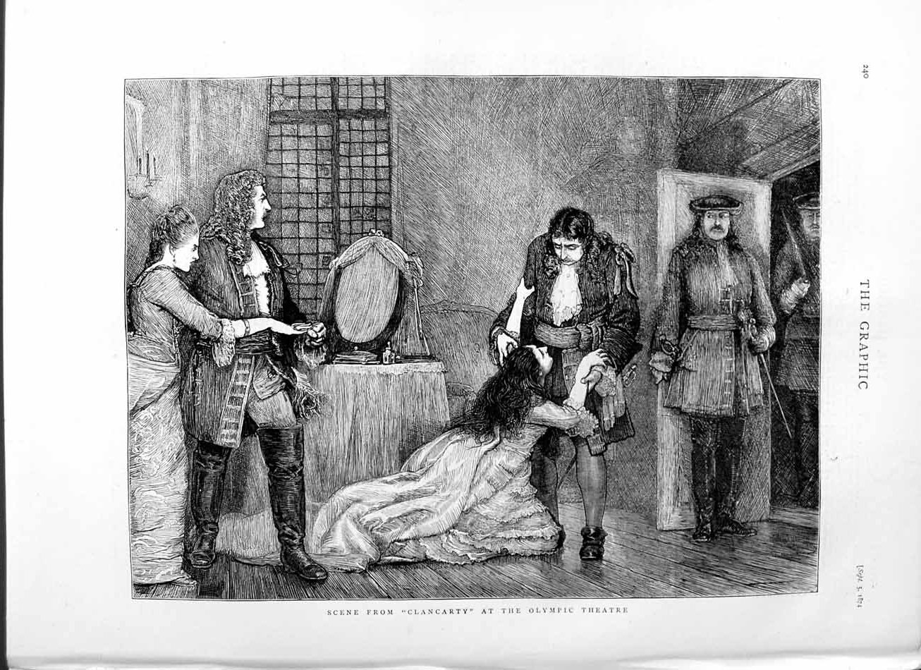 [Print 1874 Scene Clancarty Olympic Theatre Acting 240M110 Old Original]
