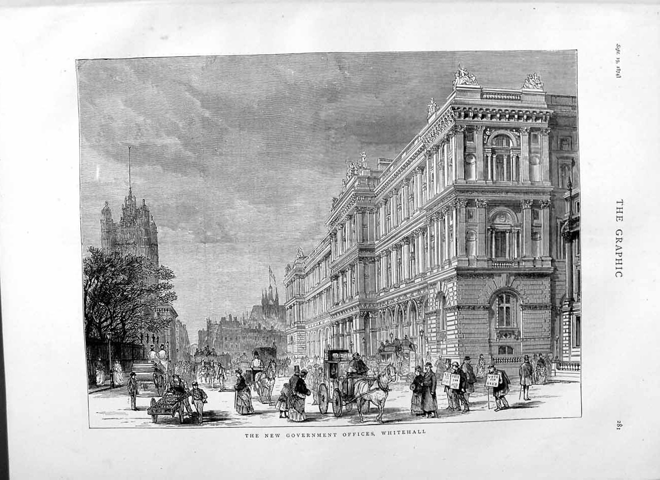 [Print 1874 Architecture Government Offices Whitehall London 281M110 Old Original]