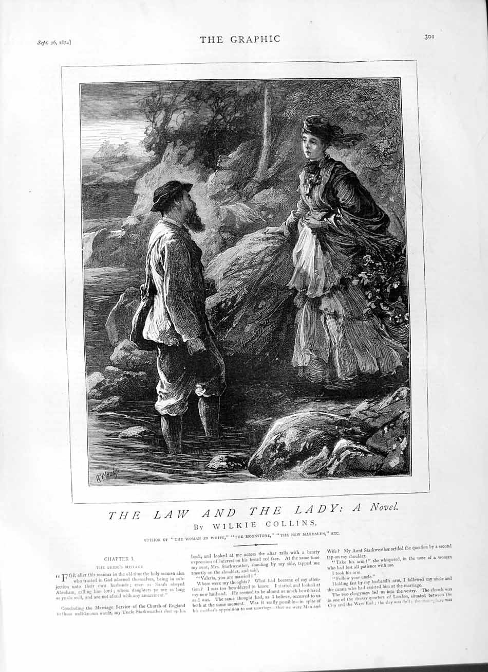 [Print 1874 Story Law Lady Romance Man River Flowers Trees 301M110 Old Original]