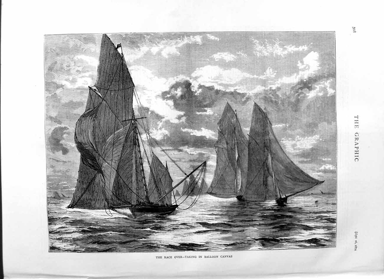 [Print 1874 Race Sailing Balloon Canvas Boats Sport 308M110 Old Original]