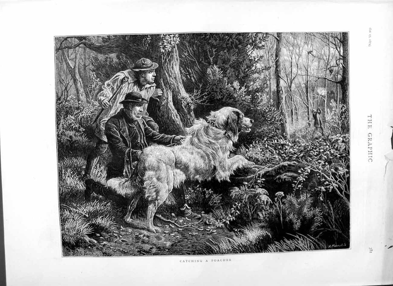 [Print 1874 Fine Art Men Trees Hunting Shooting Dog 381M110 Old Original]