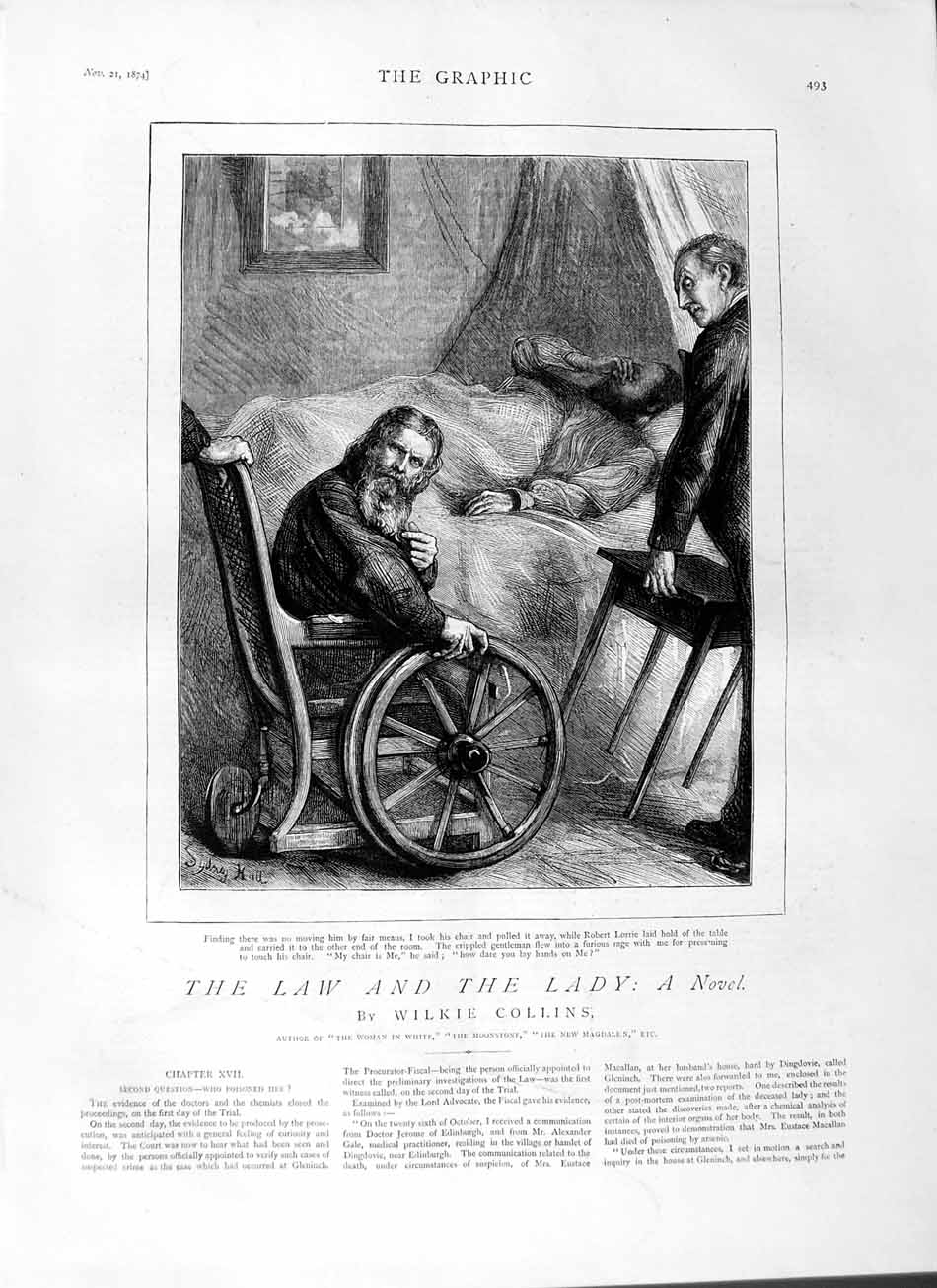 [Print 1874 Story Law Lady Sick Man Bed Wheelchair 493M110 Old Original]